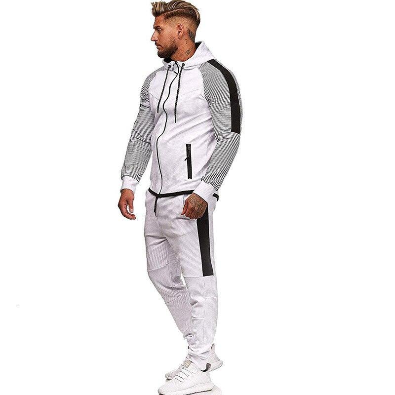 Marque survêtement pour hommes deux pièces blanc hommes survêtements Hoodies 2019 vêtements pour hommes Sport survêtement hommes ensemble vêtements pour hommes automne - 2