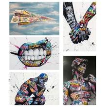 Amantes de mãos dadas rua graffiti arte da lona posters e impressões abstratas pinturas na parede fotos da arte de casa decoração