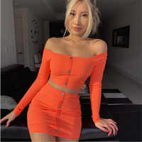 2 Piece Outfits for Women Button Decor Slash Neck Long Sleeve Solid Color Short Top+Mini Dress Fashion Office Ladies Sets