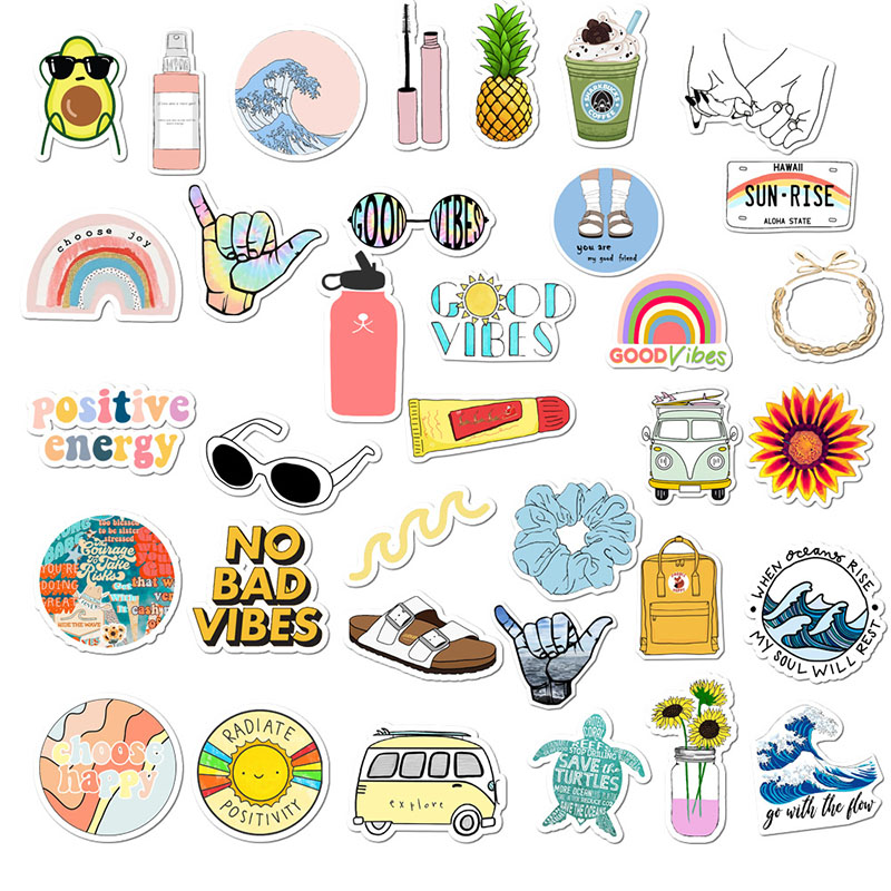 35Pcs/lot Simple Girl Cute Cartoon Vsco Sticker Pack DIY For Laptop Luggage Guaitar Skateboard Toy Waterproof Decal Stickers