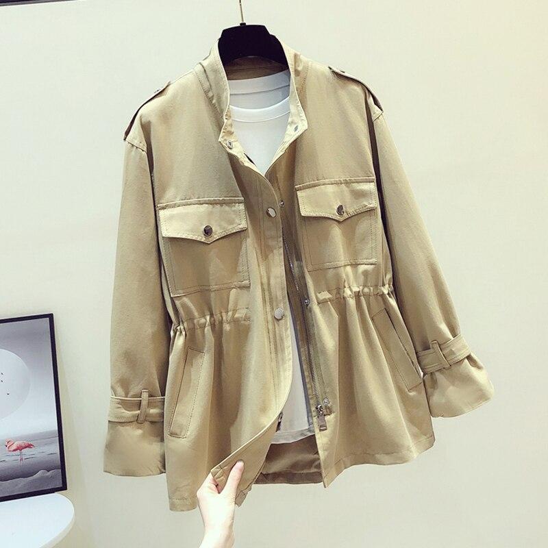2020 Spring Autumn Women Jacket Coat Casual Windbreaker Female Pocket Zipper Jackets Harajuku Loose Khaki Outerwear Plus Size