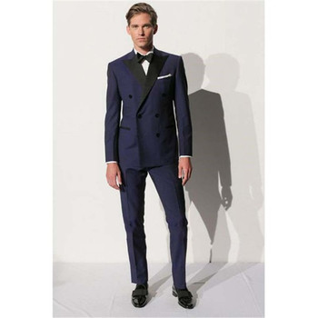 New Men's Suit Smolking Noivo Terno Slim Fit Easculino Evening Suits For Men Double Breasted Navy Blue Tuxedos Mens Suit