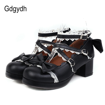 Gdgydh Sweet Lolita Princess Mary Janes Shoes White Pink Bowtie Ruffles Uniform School Shoes For Girls Mid Heel Black Punk Lace princess sweet lolita shoes loliloliyoyo antaina japanese design shoes custom pink bright pu skin thick heel zip shoes 5193s 1