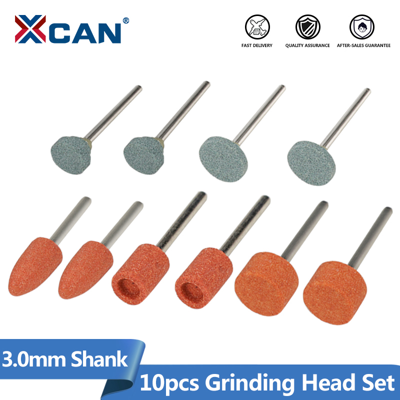 XCAN Abrasive Mounted Stone 10pcs 3mm Shank Grinding Head Stone Wheel For Dremel Rotary Tools Accessories