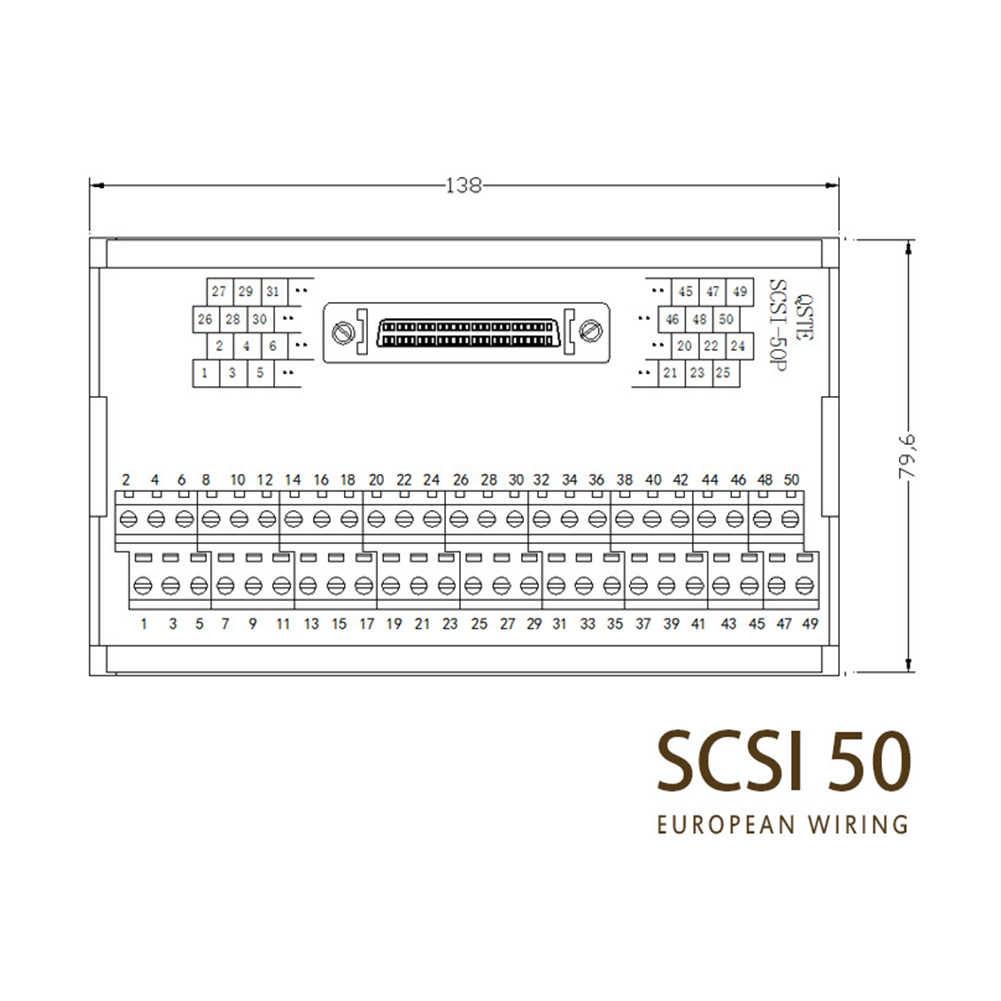 Bloques de terminales de automatización de reparación de 50 pines hembra Din riel de ajuste directo Servo sistema de Control gabinete de reemplazo