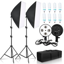 צילום 50x70CM ארבעה מנורת Softbox ערכת עם 8pcs הנורה רך תיבת אביזרי חצובה Stand עבור מקצועי תמונה סטודיו וידאו
