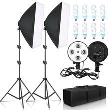 Photographie 50x70CM quatre lampe Softbox Kit avec 8 pièces ampoule boîte souple accessoires trépied support pour professionnel Photo Studio vidéo