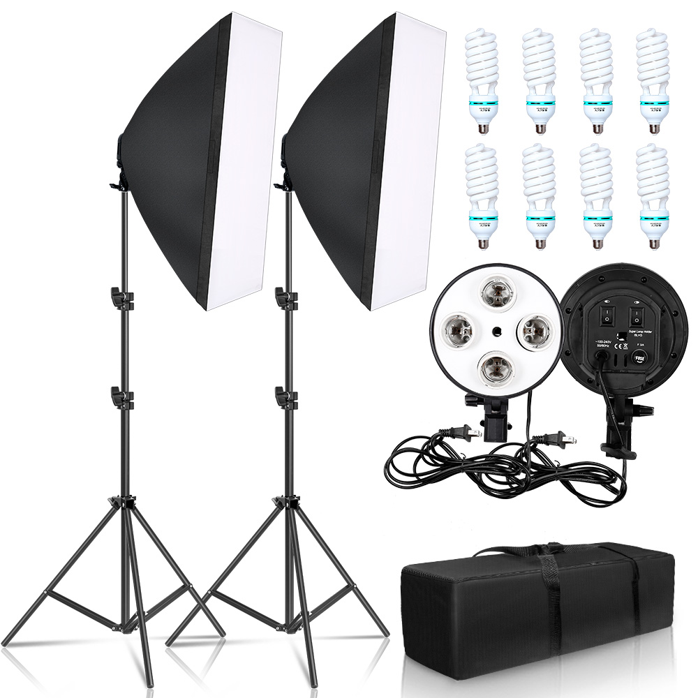 Photography 50x70CM Four Lamp Softbox Kit With 8pcs Bulb Soft Box Accessories Tripod Stand For Professional Photo Studio Video
