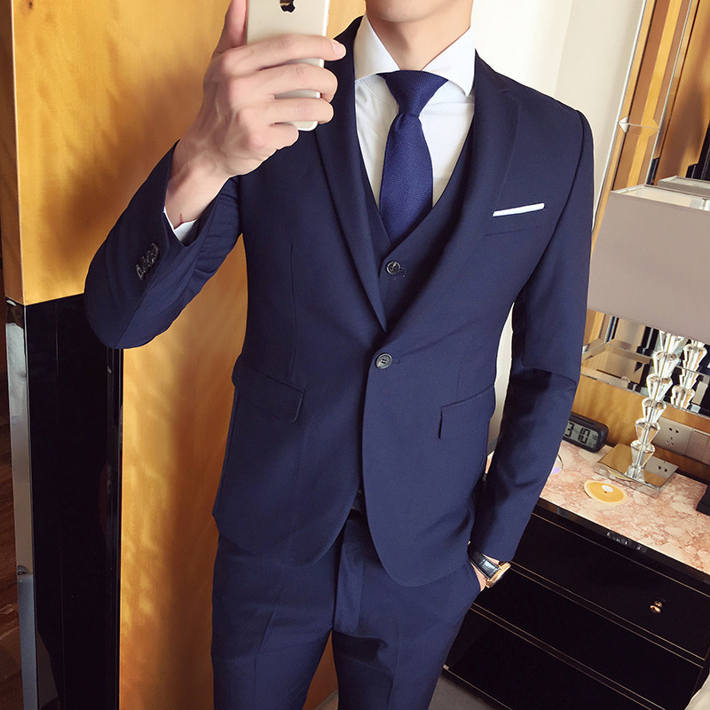 Suit Men Three-piece Set Slim Fit Korean-style Casual Suit Business Formal Wear Groom Marriage Formal Dress Best Man Suit