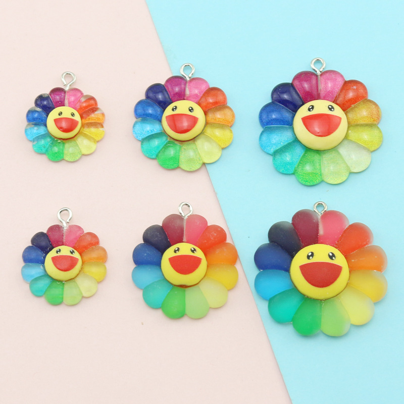 10pcs Colorful Sunflower Flower Charms Findings Jewelry Punk Handmade Earrings Keychain Necklace Pendants Accessory P125