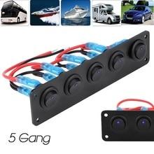 12-24V 5 Gang Round Dash Rocker Toggle Switch Panel Blue LED For RV Boat Yacht Marine Car Auto