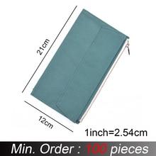 100 Pezzi/lottp Normali Standard di Dimensioni 210x120 millimetri di Tela Tasca Con Cerniera Per Notebook Accessori Sacchetto di Immagazzinaggio di Carta di Holde