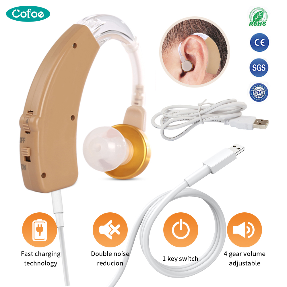 Cofoe BTE Hearing Aid Rechargeable Hearing Aids Mini Invisible USB Ear Aid Sound Amplifier For The Elderly Hearing Loss Device