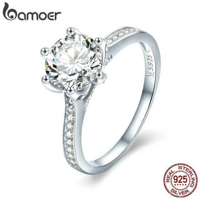 BAMOER High Quality 925 Sterling Silver Wedding Ring Princess Square CZ Finger Rings for Women Silver Engagement Jewelry SCR342