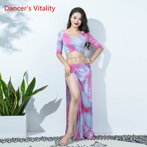 Image 3 - New Women Bellydance Costume 2 Piece Set White Sexy Long Sleeve Oriental Dance Performance Show WearModal Blouse Side Slit Skirt