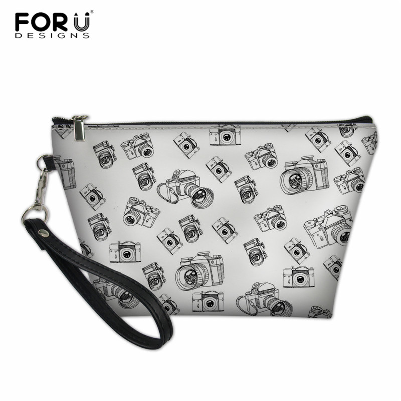 FORUDESIGNS Cosmetic Bag For Make Up Women Bags White Camera Printing Portable Female Makeup Necessaries For Travel Customize