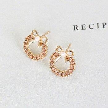 Brincos Para As Mulheres Real Earing 2019 Japanese And Korean Fashion New Elegant Bow Earrings Zircon Ladies Banquet Wholesale  1