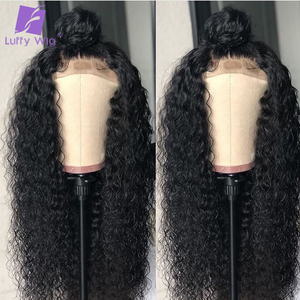 Image 3 - 13x4 Curly Lace Front Wig 180Density Glueless Deep Part Preplucked Remy Brazilian Human Hair Wigs Bleached Knots For Women LUFFY