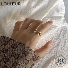 LouLeur-bague véritable en argent Sterling 925, bague dorée, en forme de nœud, échantillon tressé, pour femmes, bijoux de luxe, cadeaux, à la mode