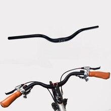 Ретро руль для велосипеда из алюминиевого сплава, изогнутый руль с фиксированной передачей, руль для шоссейного велосипеда 31,8 мм x 660 мм, черный
