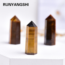 35-45mm 1pc Natural yellow tiger eye Crystal Column Crystal Point Mineral Ornament Healing Wand Family Home Decoration