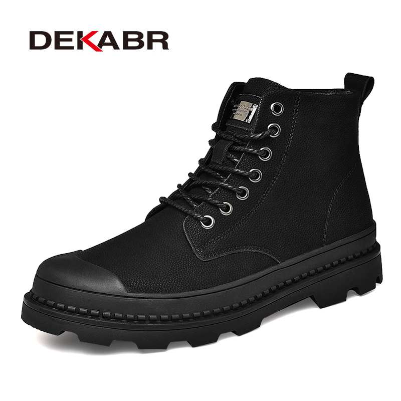 DEKABR Men Genuine Leather Boots Casual British Design Non Slip Real Leather Ankle Boots For Fashion Men Warm Snow Shoes