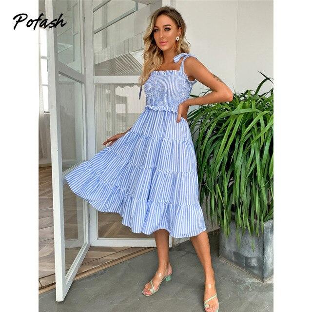 Pofash Blue Tie Bow Bohemian Dress Women Ruched High Waist Backless Spaghetti Strap Midi Dresses Summer Ruffle Beach Vestidos 1