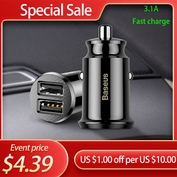 цена на Baseus Mini Dual USB Car Charger 5V 3.1A Fast Charging 2 Port USB Phone Auto Charger Adapter for Mobile Phone Tablet Car Charge