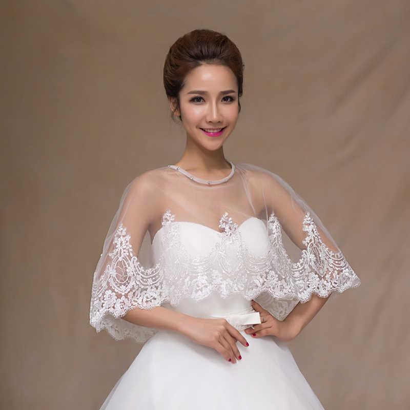 Yuluosha Pengantin Jaket Mesh Belaka Renda Flora Bordir Bolero Jaket Wanita Satu Ukuran Seksi Pernikahan Aksesoris Bridal Bungkus Selendang