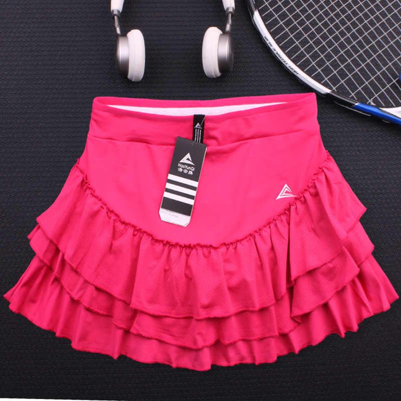 Schnell Trocken Sport Tennis Rock Frauen Flauschigen Kuchen Anti-glare Fitness Yoga Lauf Mädchen Half-länge Badminton Solide plissee Skort