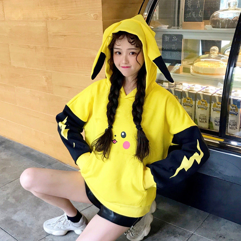 Pikachu Sweatshirts Women Spring Long Sleeve Top Girls Japanese Kawaii Clothes Print Cartoon Autumn Velvet Hoodies