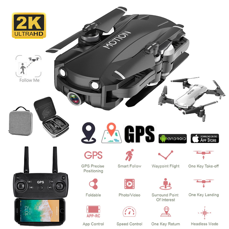 Drones With Camera HD 5G WiFi Adjustable 2K Camera Selfie FPV Quadcopter RC Lower Power Return Headless Mode Camera Drone GPS image