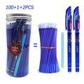 100 + 3 шт/бутылка стираемая гелевая ручка Набор 0,5 мм волшебные чернила гелевая ручка моющаяся ручка синий черный цвета чернильная ручка офис...