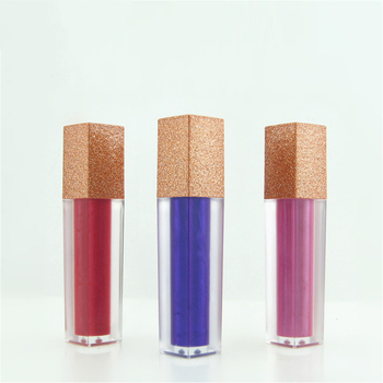free shipping 4 5ml 10 20 50pcs lot empty square black gradually varied lip gloss tube 5ml Square Flash Gold Lid Empty Lipstick Lip Gloss Tubes High Quality Frosted Lip Glaze Tube Cosmetic Packaging Container 1pc