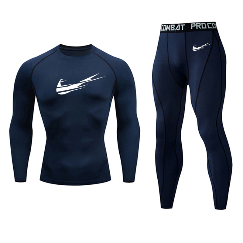 Full Man Tracksuit Men's Sport Suit MMA Tactical Trousers T-shirt Tights Men Rashgard Kit Winter Thermal Underwear Compressive Fitness Base Layer