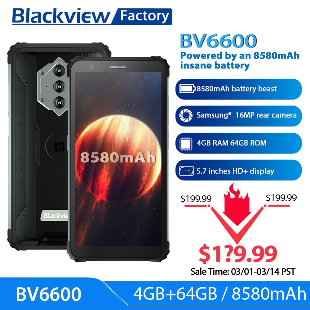 Blackview BV6600 8580 мА/ч, Батарея смартфон IP68 Водонепроницаемый 4 Гб + 64 Гб Восьмиядерный мобильный телефон 16MP Камера NFC мобильных телефонов