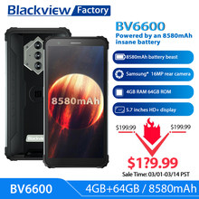 Blackview BV6600 8580mAh Batterie Smartphone IP68 Wasserdichte 4GB + 64GB Octa Core Handy 16MP Kamera NFC handys