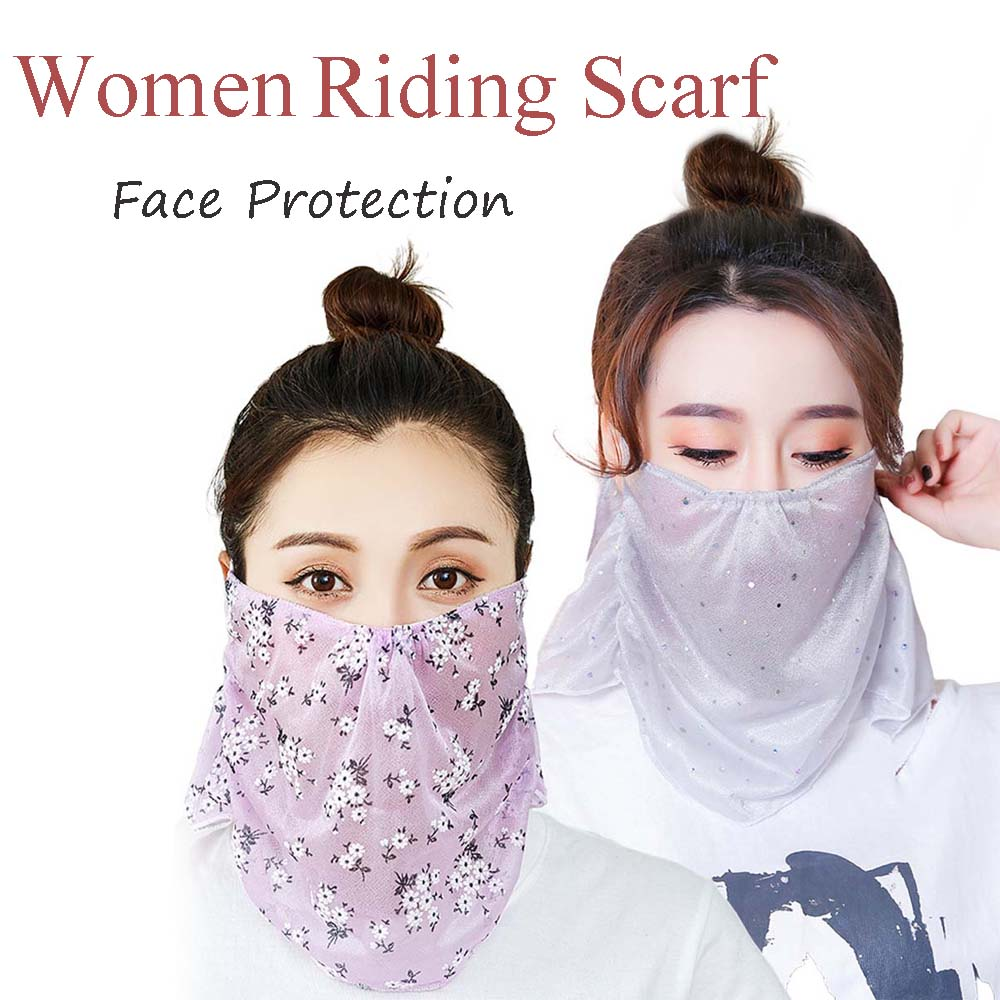 Women Sunscreen Veil Floral Scarf Protection Riding Outdoor Neck Cover Multi-Color Chiffon Print Sports Scarf Shawl