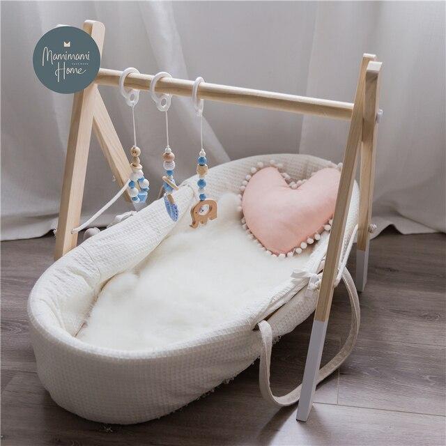 1 Set Nordic Cartoon Baby Wooden Gym Fitness Frame Rack Hanging Pendant Toys Kit Toddler Infant Room Decorations