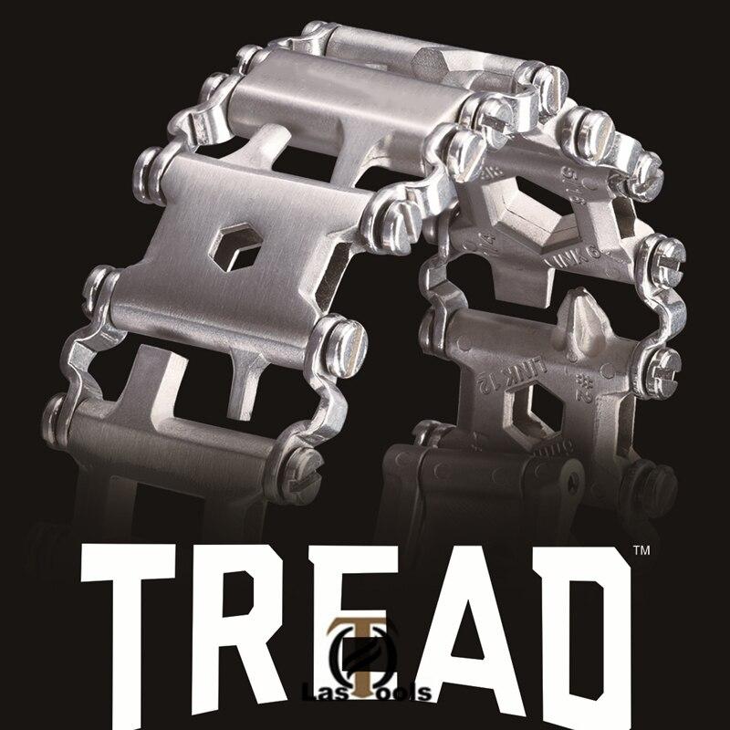 29 in 1 Multifunktionale Lauffläche Armband Edelstahl Outdoor Bolzen Fahrer Kits Reise Freundliche Tragbare Multitool Hand Werkzeuge