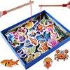 32 szt. Gra wędkarska zabawki edukacyjne dla dzieci ryby drewniane magnetyczne urodziny prezent na boże narodzenie