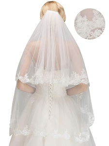 Image 2 - Womens Short 2 Tier Tulle Sheer Lace Wedding Bridal Veil with Comb Velos De Novia Fingertip Vail  Ivory Veil Two Layer