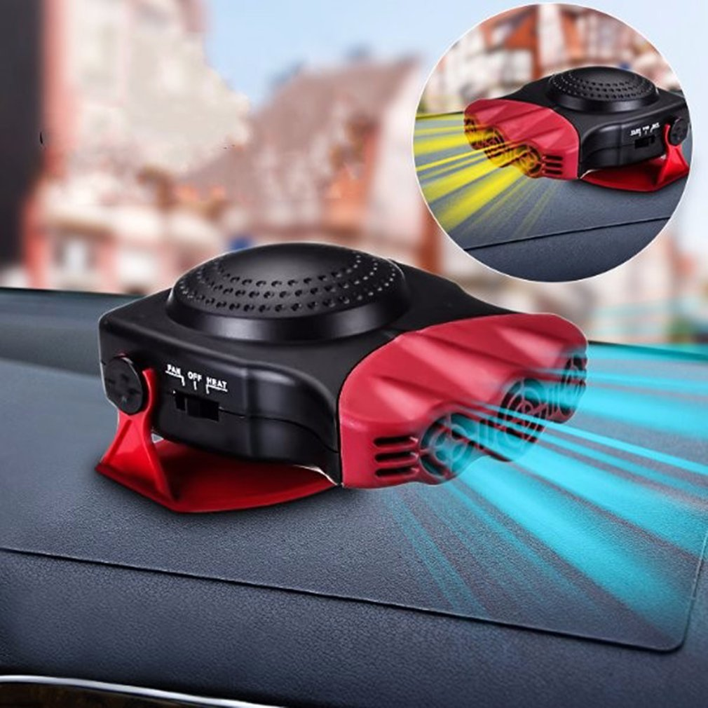 2 In 1 12V 150W Auto Car Heater Portable Heating Fan With Swing-out Handle Windscreen Defroster Dashboard Driving Demister