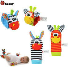 100pcs /lot Sozzy Infant Baby Kids Socks rattle toys Wrist Rattle and Foot Socks 0~24 Months (25 sets )