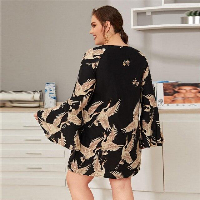 Vestido corto recto casual túnica manga ancha Tallas Plus 3