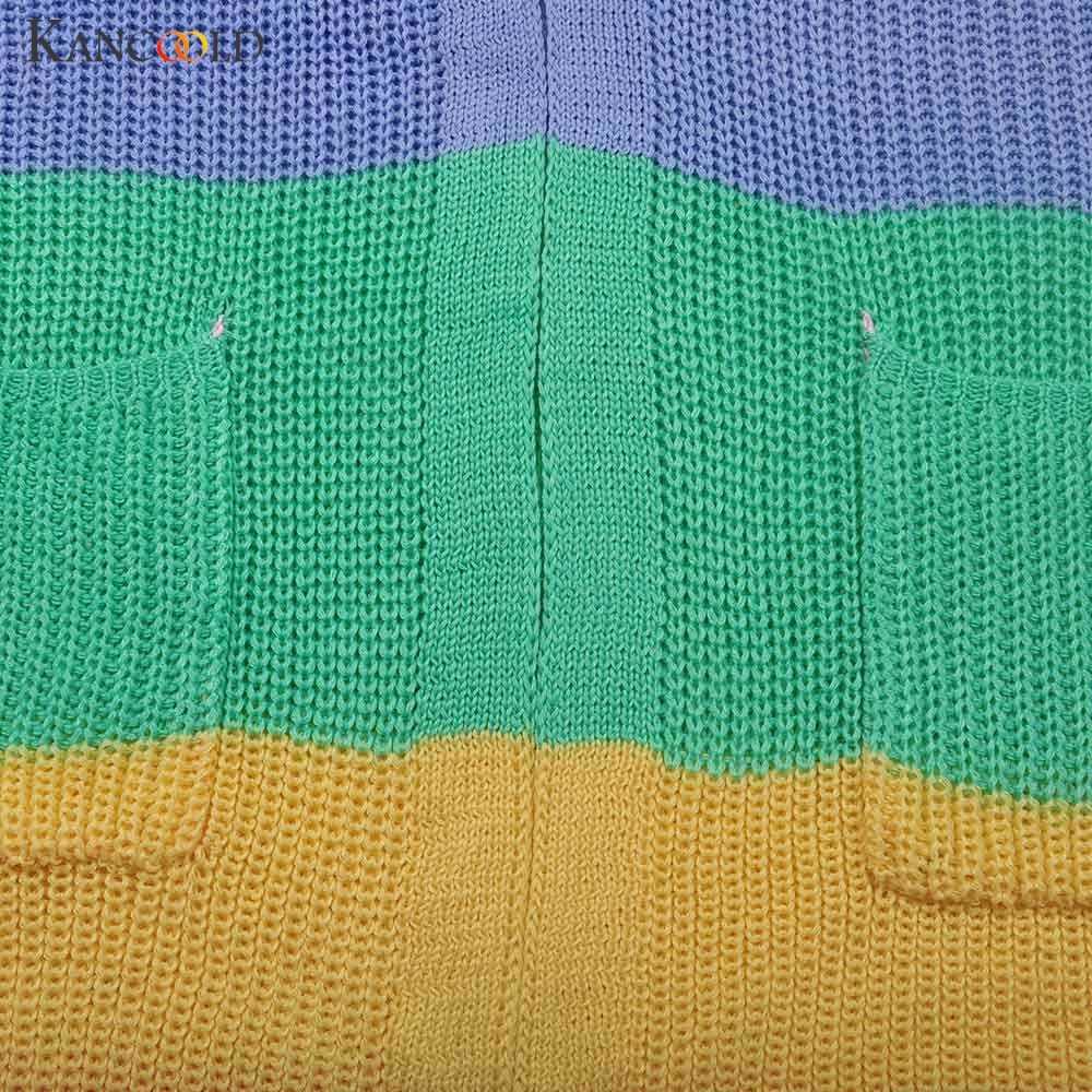 Осенний женский свитер с длинным рукавом в стиле пэчворк, трикотажный кардиган в радужную полоску с открытой передней частью, Женское Пальто sueter mujer invierno 2019