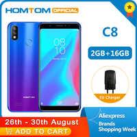 オリジナルバージョン HOMTOM C8 4 グラム携帯電話 18:9 フルディスプレイの Android 8.1MT6739 クアッドコア 2 ギガバイト + 16 ギガバイトスマートフォン指紋 + 顔 Id