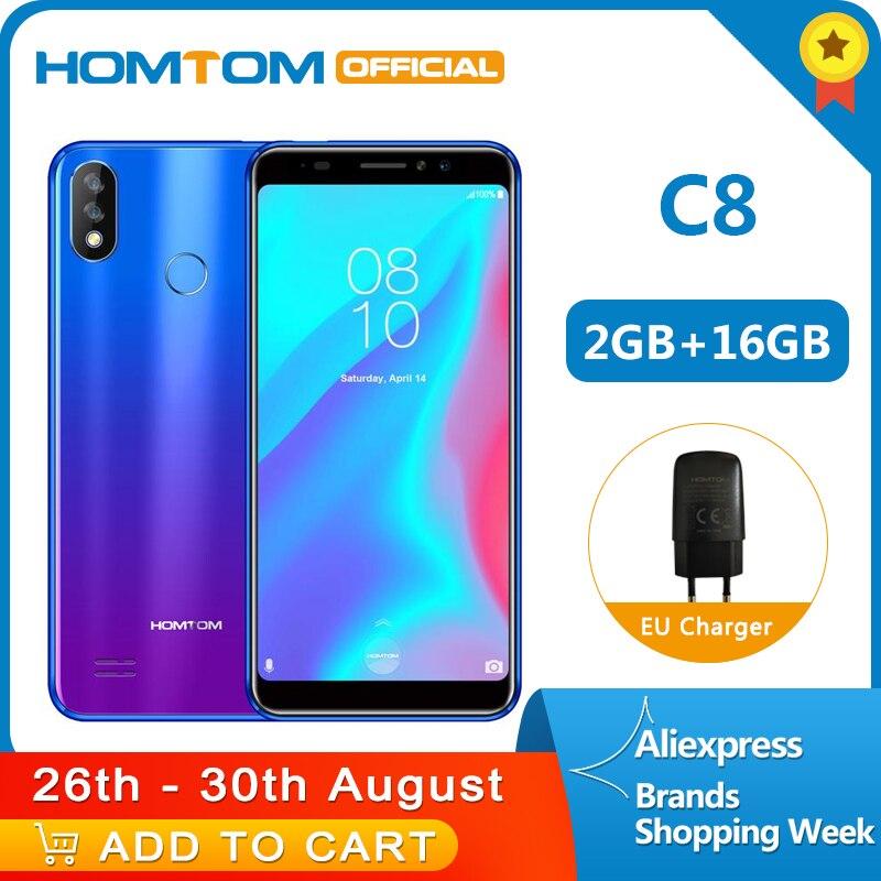 Version originale HOMTOM C8 4G téléphone portable 18:9 affichage complet Android 8.1MT6739 Quad Core 2GB + 16GB Smartphone empreinte digitale + identification du visage