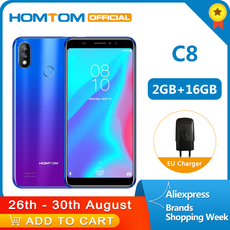 Version originale HOMTOM C8 4G téléphone portable 18:9 affichage complet Android 8.1MT6739 Quad Core 2GB + 16GB Smartphone empreinte digitale + identification du visage