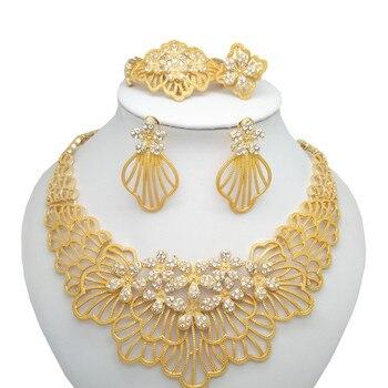 Kingdom Ma Free Shipping African Gold Color Luxury Jewelry Sets Bridal Nigerian Wedding Beads Big Zinc Alloy Set - discount item  59% OFF Fashion Jewelry